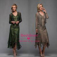 ücretsiz gelin elbiseleri toptan satış-2019 Scala Çay Boyu Aplikler ile Gelin Elbiseler Annesi ve Boncuklu V Yaka A Hattı Abiye Ücretsiz Bolero 25397