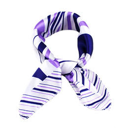 Wholesale New Chiffon Scarf - New Arrival Elegant Stripe Purple Chiffon Little Scarf Shawl Gift For Mother