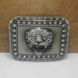 Wholesale Belt Buckle Rhinestone For Men - BuckleHome Fashion tiger head belt buckle with rhinestones with pewter finish FP-03454 suitable for 4cm wideth belt free shipping