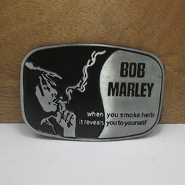 Wholesale Bob Marley Women - BuckleHome Fashion BOB marley belt buckle with pewter finish and black coating FP-03457 suitable for 4cm wideth belt free shipping
