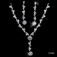Wholesale Trendy Stainless Steel Jewelry - Rhinestone Bridal Jewelry Sets Earrings Necklace Crystal Bridal Prom Party Pageant Girls Wedding Accessories Free Shipping 15049