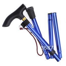 Wholesale Hiking Stick Cane - Wholesale-op-Outdoor Adjustable Easy Folding Lightweight Trekking Hiking Walking Stick Cane Handle Blue