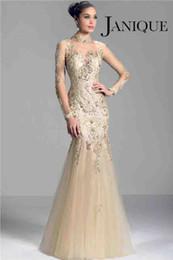 janique vestidos de noite Desconto Janique W321 champagne 2014 manga longa mãe dos vestidos de noiva sheer alta neck lace applique contas sereia prom noite formal vestidos