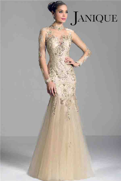 best selling Janique W321 champagne 2014 long sleeve Mother of the Bride Dresses sheer high neck lace applique beads mermaid prom evening formal gowns
