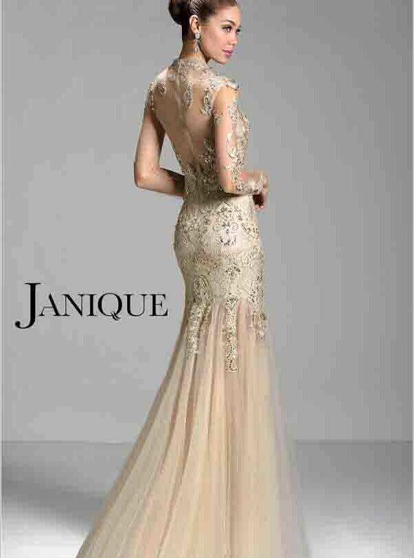 Janique W321 champagne 2014 manches longues mère de la mariée robes pure col haut dentelle appliques perles sirène robes de soirée formelle de bal