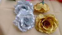 10 centimetri fiore Rosa della seta artificiale Heads Wedding Party di Natale in oro argento Colore Diy Jewlery Spilla Headwear