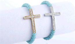 Wholesale Beaded Diamond Bracelets - 2014 hot gold plated fashion cross diamond bracelet wrap bracelets korean girl charm bracelet Simple beaded bracelet fashion Jewelry Chain