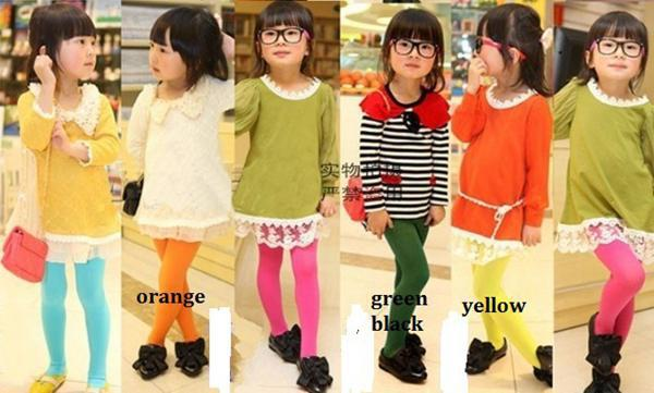 Lowest price stock Here !! 2016 New Girls Candy Color Velet Baby Tights for girl, children pantyhose for 3-12Years available melee