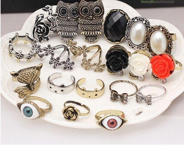 New Stylish Jewelry Vintage Owl Pearl beauty crown fox Animal Rings Rose Eye Flower Rings Simulation gemstone women ring