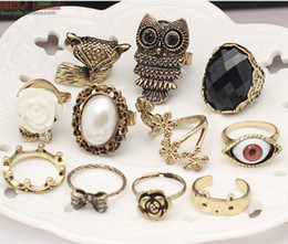 Wholesale Mixed Owl Order - New Stylish Jewelry Vintage Owl Pearl beauty crown fox Animal Rings Rose Eye Flower Rings Simulation gemstone women ring mix order 36pcs