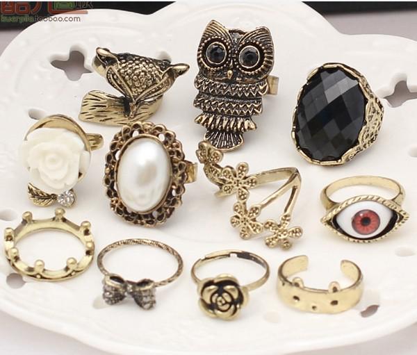 New Stylish Jewelry Vintage Owl Pearl beauty crown fox Animal Rings Rose Eye Flower Rings Simulation gemstone women ring mix order 36pcs