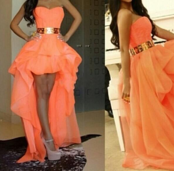 Fashion Gold Belt Evening Gowns Sweetheart Pretty Girls Dress Peach Color Prom Dresses 2017 Free Shipping