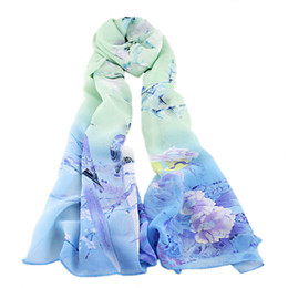 Wholesale Flower Scarfs - Winter Hot Sale Big Flower Printed Woman Chiffon Scarf