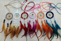 indische traumfänger halsketten großhandel-6 cm Durchmesser 12 teile / los Neue Ankunft Hohe Qualität Heißer Verkauf Freies Verschiffen Bunte Feder Indian Dream Catcher Halskette