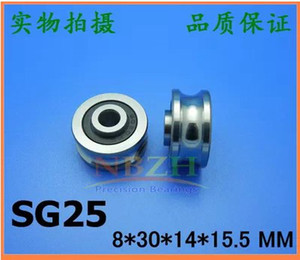 Wholesale roller bearing track for sale - Group buy 20pcs high quality SG25 U Groove pulley wheel ball bearings mm Track guide roller bearing SG8RS x30x14 double row balls ABEC