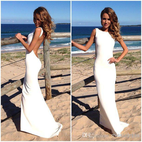 top popular Hot Simple Beach Wedding Dresses Crew Neck Full Length Backless Satin Seaside Brdial Gowns Free Shipping Custom Made 2015 2019