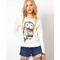 camisa da coruja das meninas venda por atacado-2016 New Retro Outono Mulheres Blusas de Moda Longa Blusa Solta coruja do vintage Impresso Casual camiseta de Manga Longa Das Mulheres Tops Meninas Camisas E53