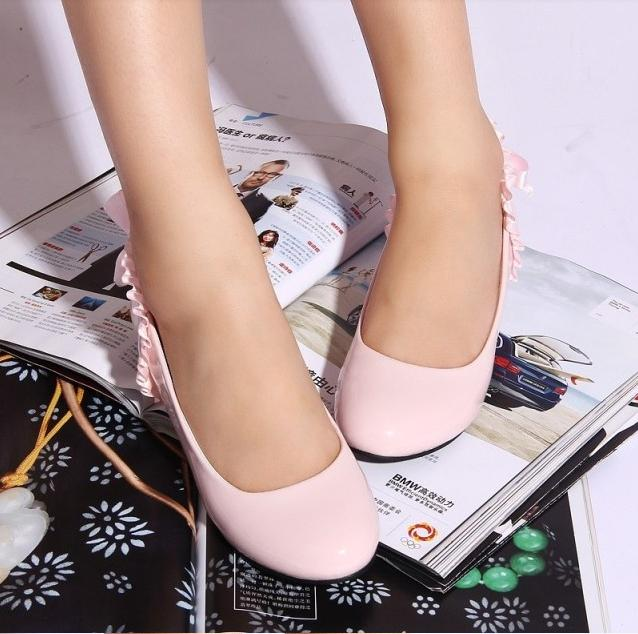 Hot Sales Shiny Korean Version Of New Spring Shoes With A Single Slope In Sweet Bow Low Heel Shoes Pumps Women Shoes DL186
