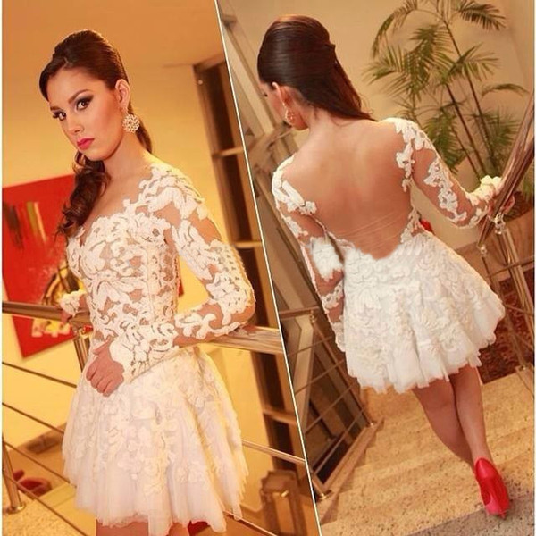 best selling 2019 Lovely Design Mini Homecoming Dresses Long Sleeve Sheer Tulle Back Above Knee Length Short Prom Party Gowns Custom Made