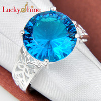 Wholesale Quartz Wedding Ring - Luckyshine 2piece lot Christmas 925 sterling silver valuable Honey round Green quartz blue yellow red crystal Ring for lady R343 345 346 361