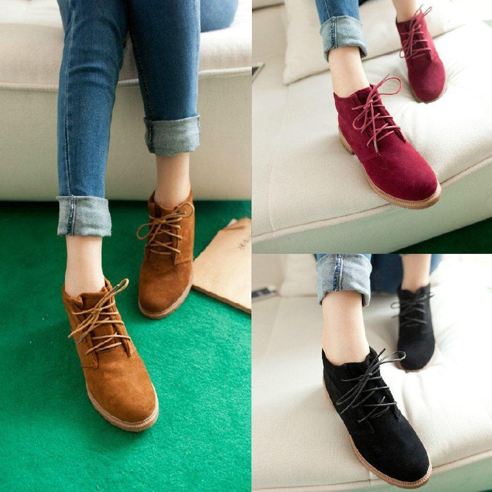New Vintage Women Platform Ankle Boots Heels Spring Autumn Flat ...