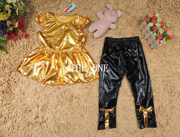 girls fashion suit kids clothing sets shirt dress short sleeve shirt dress gold black legging pants with bow girl 2 pcs set 2014 new arrival