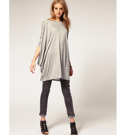 2016 Höst sommar kvinnor blouses och skjortor plus storlek mode lång lösa blus casual t shirt batwing ärm kvinna toppar skjortor kläder e54
