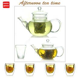 Wholesale Tea Sets Double Glass - heat-resisting glass tea set,multi-purpose,20.34fl.oz 600ml glass teapot 1pc + 2.7 fl.oz   80ml double wall glass cup 4 pcs