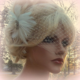 Wholesale Feather Accessory Wedding - 2015 Attractive Vintage White Net Feather Pearl Birdcage Veil Headpiece Head Veil Wedding Bridal Accessories
