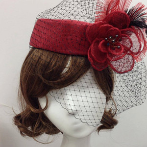 Wholesale Feather Sinamay Red White Hat For Wedding Party And Kentucky Derby Wedding Bridal Hats Tiaras Hair Accessories