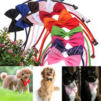 Wholesale Dogs Neck Tie - Free shipping - 30pcs lot Dog Neck Tie Dog Bow Tie Cat Tie Supplies Pet Headdress adjustable bow tie [FS01009*30]