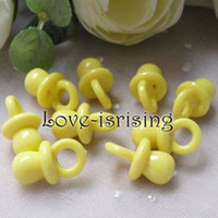 Wholesale acrylic pacifier charms for sale - Group buy Mini Acrylic Solid Yellow Baby Pacifier Baby Shower Favors Cute Charms cupcake decorating