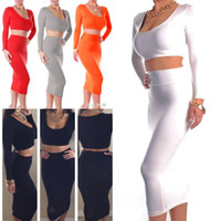 Wholesale Mid Wholesale Bodycon Dresses - Sexy Women's Black White Bodycon Skirts with Free Top Clubwear Stretchy Bodycon Dress Evening Party Bandage Body-con Dress S M L 08055 10pcs