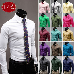 Wholesale Organic Cotton Business Shirts - 2016 autumn New Hot Fashion Men's Long Sleeve Solid business Casual Shirt Slim Fit Casual Shirts 17 Colors very cool Men Dress shirt KLL2