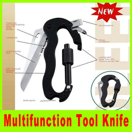 Wholesale Lockable Steel - Hunting knife all-steel carabiner quickdraw, lockable carabiner outdoor camping utility Multi tool Kit gift L