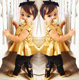 hot black short pants girl NZ - baby girls clothing sets summer kids suit for girl clothing set gold black legging pants baby girls clothing set 2pcs sets hot selling