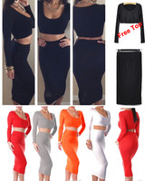 Wholesale Plus Size Wholesale Clubwear - Hot Women's Minisuit Bodycon Skirts with Free Tops Shirts Clubwear Stretchy Dress Evening Party Bandage White red Dress S M L 08055 50Pcs