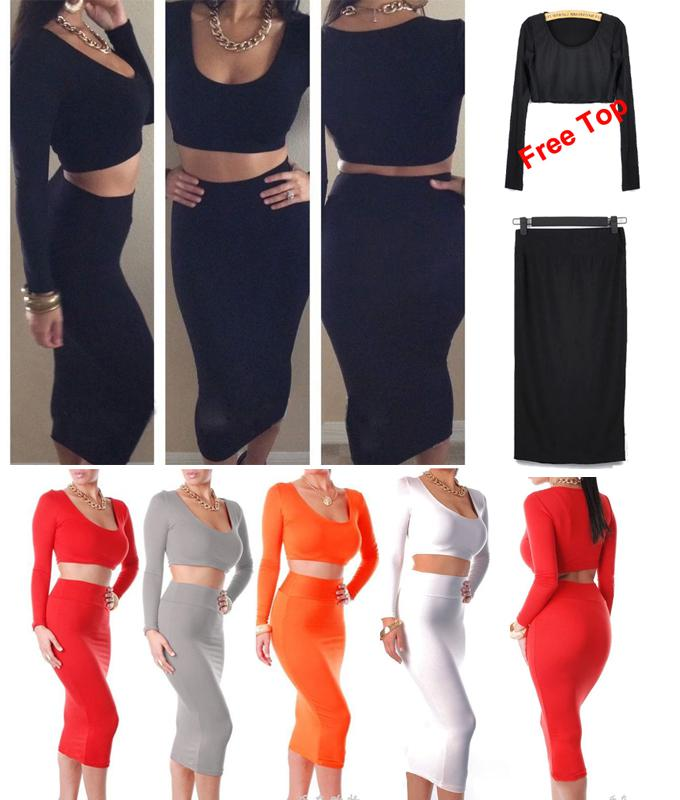 Hot Women's Minisuit Bodycon Skirts with Free Tops Shirts Clubwear Stretchy Dress Evening Party Bandage White red Dress S M L 08055 50Pcs