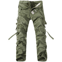 Wholesale Relaxed Cargo Pants - Wholesale 2017 Men Pants Cotton Casual Military Army Cargo Pants Fashion Multi-Pocket Combat Work Pants Trousers (No Belt) R48 salebags