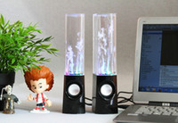 Wholesale Dancing Water Speaker Active Portable - Dancing Water Speaker Active Portable Mini USB LED Light Speaker For iphone ipad PC MP3 MP4 PSP DHL free LY