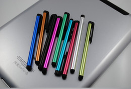 50pcs / lot stylo stylo à bas prix stylo coloré silumin + Metal stylet en aluminium pour iphone ipad capacitif tablette portable