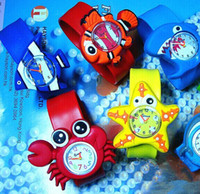 Wholesale Wholesale Shark Watches - Fashion Funny Ocean animal series kid Slap wristwatches Cute Crab Shark dolphin Fish Snap Slap watch Silicone Candy Watch Quartz Watches