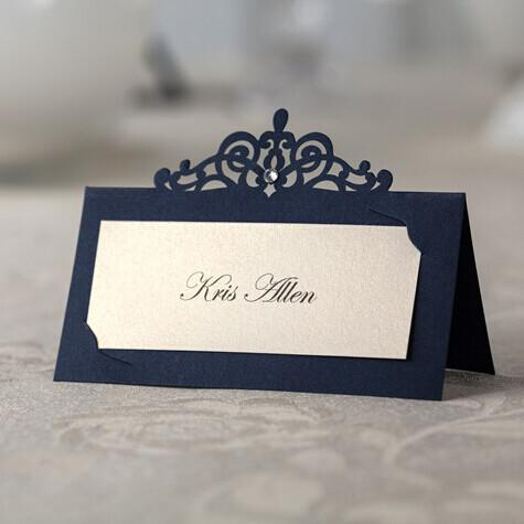 blue laser cut place cards wedding name cards paper party table