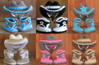 Wholesale crochet hat boots for sale - Group buy 6 off Crochet baby cowboy hat boots suit Halloween Costume newborn baby shoes cowboy hat set HIGH Quality Cotton