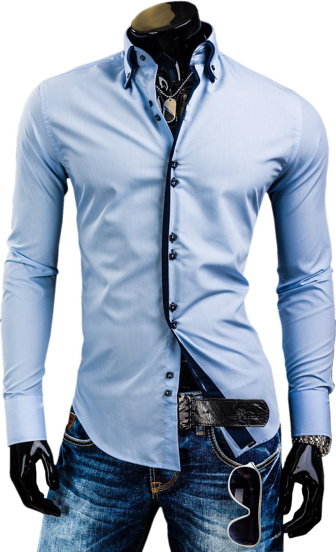 Shirt design for man 2016 - Wholesale 8 Colors Men S G Sleevfashion Trendy Square Buckle Long Sleeved Shirt New Men S Red Shirts Double Collar Dress Shirt Czj821h