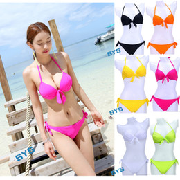 Wholesale Cheap Bathing Suit Sets - Cheap Promotions !! Sexy Women Halter Bikinis Set Padded Push up Bikini Swimwear Ladies Beach Wear Biquini Swimsuit Hot Spring Bathing Suit