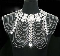 Wholesale New Bridal Wedding Jackets - New Vintage Wedding Bridal Women Ladies Jewelry Set Silver Crystal Rhinestone Shining Shoulder Long Full Body Chain Necklace Epaulet Jacket