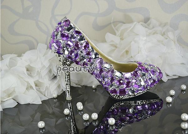 2015 Handmade Ladies Purple Crystal Wedding Shoes Luxurious Beautiful Bridal Dress Shoes Women High heel party club Shoes Free Shipping