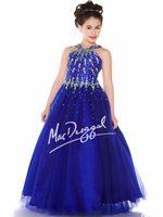 chicas bonitas vestidos talla 12 al por mayor-Pretty Blue Tulle Halter Beads Vestidos de niña de flores Vestidos del desfile Vestido de fiesta Vestidos festivos Tamaño personalizado 2 4 6 8 10 12