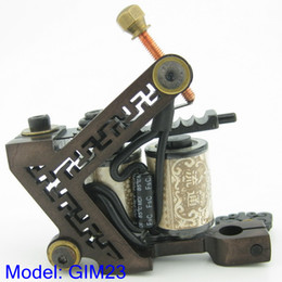Wholesale Iron Handmade Tattoo - Custom Top 10 Wrap Coil Cast Iron Wire-cutting Tattoo Machine Gun Supply GIM23#